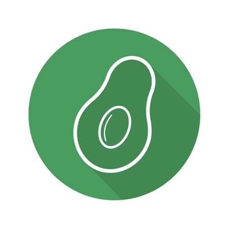 Avocado flat linear long shadow icon. Vector line symbol