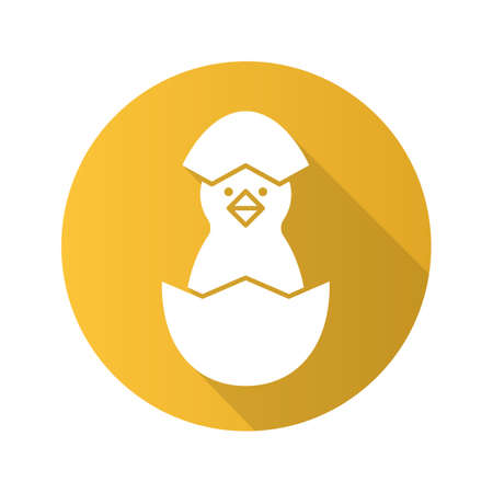 Newborn chicken flat design long shadow icon. Nestling in egg shell. Vector silhouette symbol Vector Illustration