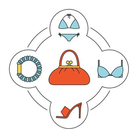 Vrouw handtas inhoud kleur pictogrammen instellen. Badpak, bh, haar scrunchy, hoge hak schoen. Geïsoleerde vectorillustraties