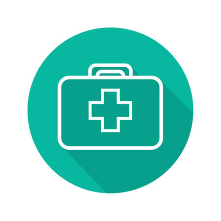 survive: First aid kit flat linear long shadow icon. Medicine chest. Vector line symbol Illustration