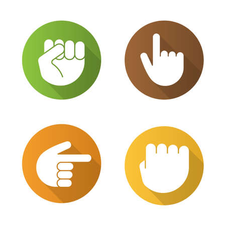 Hand gestures flat design long shadow icons set. Squeezed and raised fists, hands pointing right and up. Vector silhouette illustration Illustration