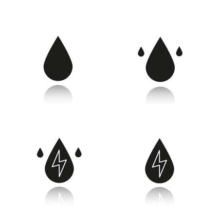 hydroelectric: Water energy drop shadow black icons set. Water drops. Hydro power plant. Isolated vector illustrations Illustration
