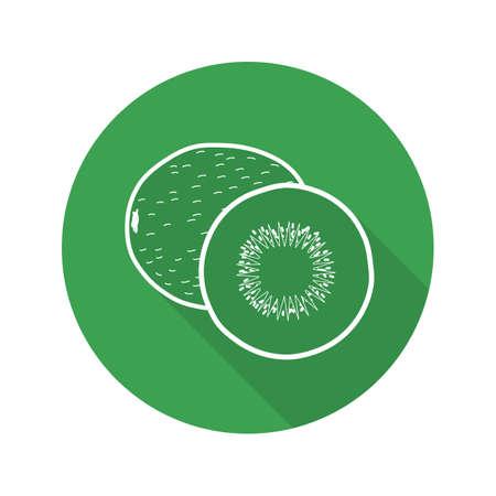 Kiwi fruit flat linear long shadow icon. Vector line symbol