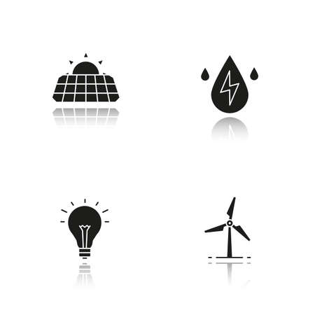 panels: Eco energy drop shadow black icons set. Solar panels, windmill, water energy, light bulb. Isolated vector illustrations