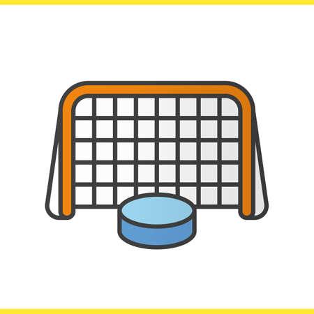 IJshockey poort en puck kleur pictogram. Hockey doel. Geïsoleerde vectorillustratie