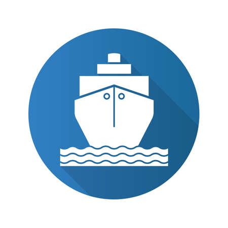 coast guard: Cruise ship flat design long shadow icon. Shipping tanker. Vector silhouette symbol