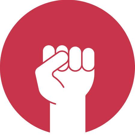 Angehobene Faust Glyphe Farbsymbol. Geballte Handbewegung. Silhouette Symbol auf rotem Hintergrund. Negativer Raum. Vektor-Illustration Vektorgrafik
