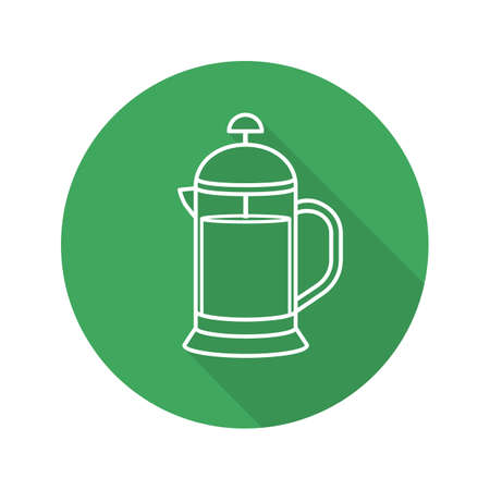 French press flat linear long shadow icon. Brewing tea pot. Vector line symbol