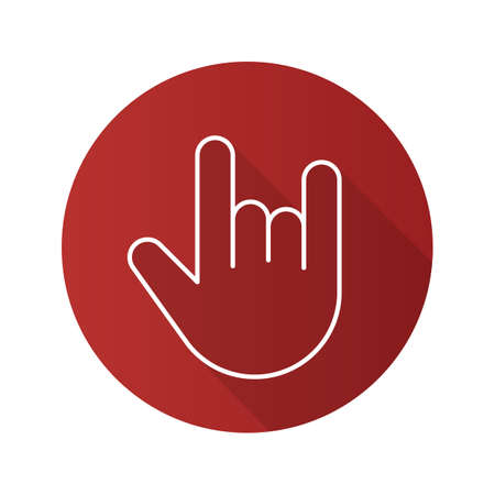 Heavy metal gesture. Flat linear long shadow icon. Devil horn and cool hand gesture. Vector line symbol