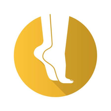 Woman's feet standing on tiptoe. Flat design long shadow icon. Vector silhouette symbol