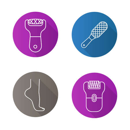 Feet care flat linear long shadow icons set. Womans foot, file, rasp, epilator. Vector line illustration