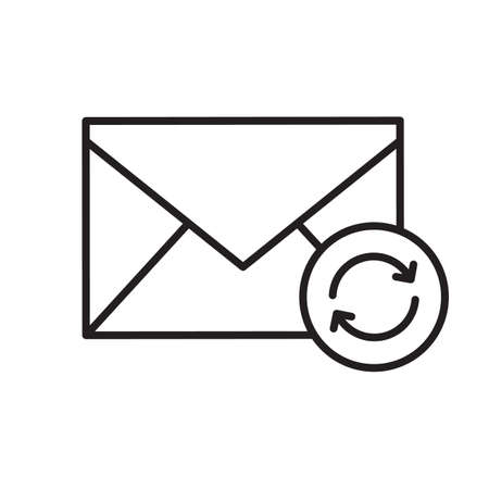 Refresh email linear icon. Thin line illustration. Email letter with recycle arrows contour symbol. Vector isolated outline drawing