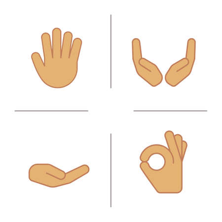 Hand gestures color icons set. Begging and cupped hands, palm, ok gesture. Isolated vector illustrations