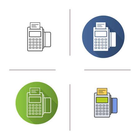 Pos ターミナルのアイコン。フラットなデザイン、直線とスタイルを色します。決済端末チェックとクレジット カードを保存します。分離ベクトル   イラスト・ベクター素材