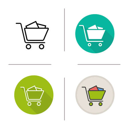 Shopping cart with boxes icon. Flat design, linear and color styles. Isolated vector illustrations