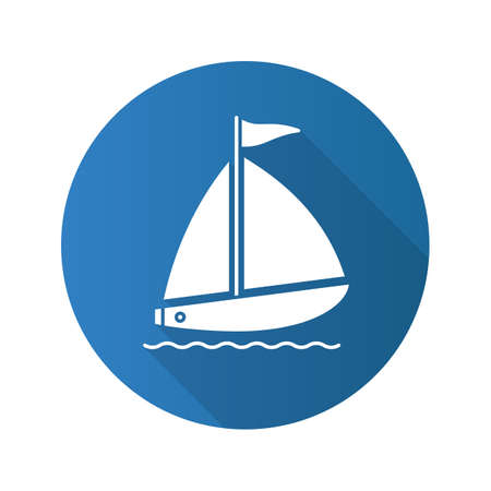 Sailboat flat design long shadow icon. Yachting. Vector silhouette symbol