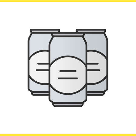 beers: Beer cans color icon. Isolated vector illustration