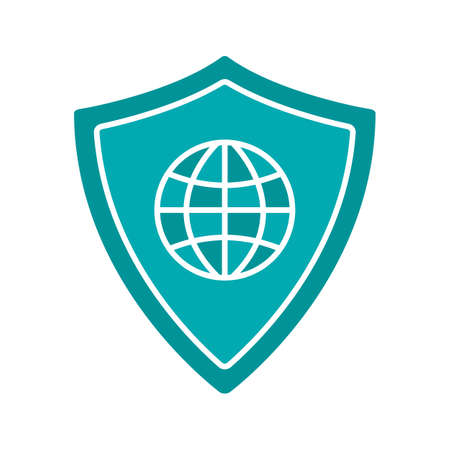 space program: Network security glyph color icon. Protection shield with globe model. Silhouette symbol on white background. Negative space. Vector illustration