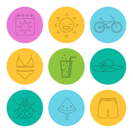 swimming cap: Summer linear icons set. Calendar, sun, bike, swimsuit and beach hat, lemonade, ladybug, watermelon on stick, swimming trunks. Thin line contour symbols on color circles. Vector illustrations