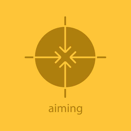 Aiming abstract symbol glyph color icon. Silhouette symbol. All direction arrows. Negative space. Vector isolated illustration
