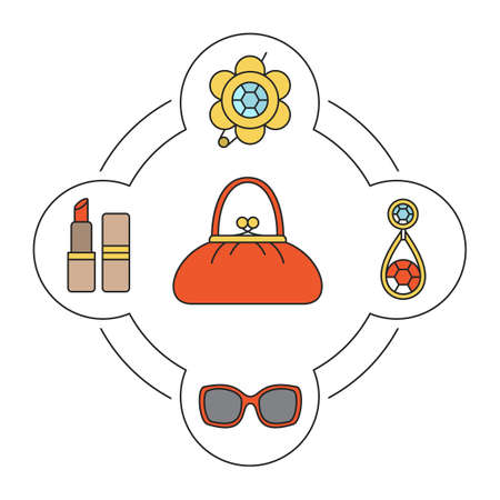 Womens handbag contents color icons set. Brooch, lipstick, earring and sunglasses. Isolated vector illustrations