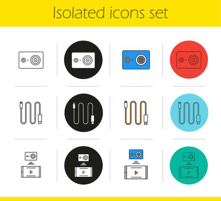 cam: Action camera icons set. Linear, black and color styles. Mini USB cable, action camera to smartphone wireless connection. Isolated vector illustrations Illustration