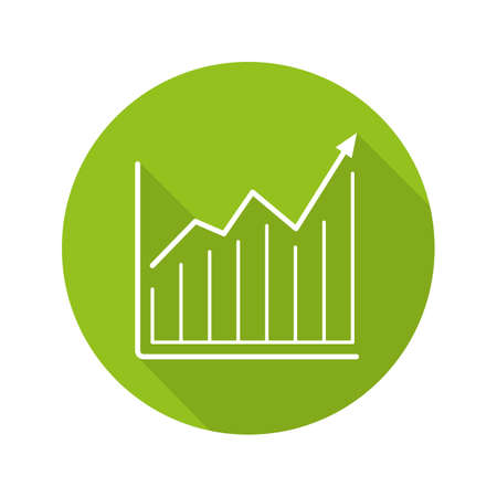 financial item: Market growth chart. Flat linear long shadow icon. Diagram. Business statistics graph. Vector line symbol Illustration
