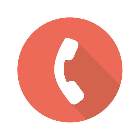 Phone handset flat design long shadow icon. Contact us sign. Telephone. Vector silhouette symbol