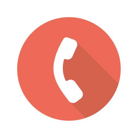 Telefoon handset plat ontwerp lange schaduw pictogram. Neem contact met ons op ondertekenen. Telefoon. Vector silhouet symbool