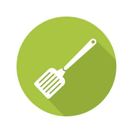 Spatula flat design long shadow icon. Kitchen turner. Vector silhouette symbol