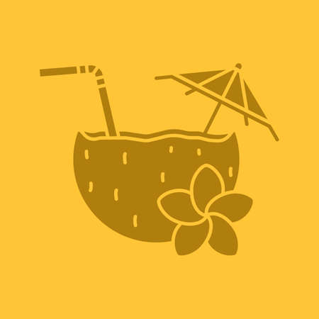 colada: Beach cocktail glyph color icon. Silhouette symbol. Pina colada cocktail with straw, umbrella and plumeria flower. Negative space. Vector isolated illustration