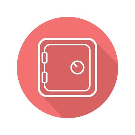 classified: Bank vault flat linear long shadow icon. Safe deposit box. Vector line symbol Illustration