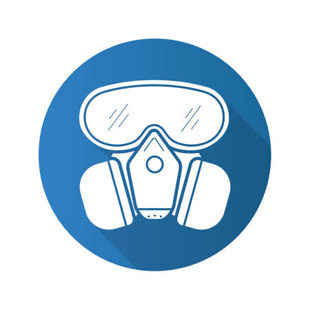 Gas mask flat design long shadow icon. Chemical lab protective mask. Vector silhouette symbol Illustration