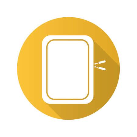 cam: Gadget protective case. Flat design long shadow icon. Vector silhouette symbol