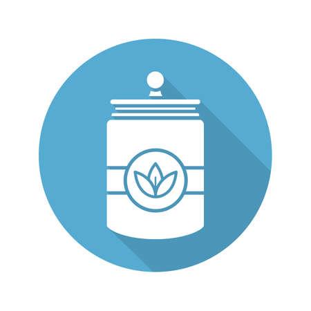 Tea and herbs jar. Flat design long shadow icon. Vector silhouette symbol Stock Vector - 80933341