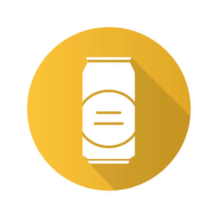 beers: Beer can flat design long shadow icon. Vector silhouette symbol