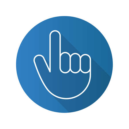 Attention hand gesture. Flat linear long shadow icon. Point up. Vector line symbol Ilustração