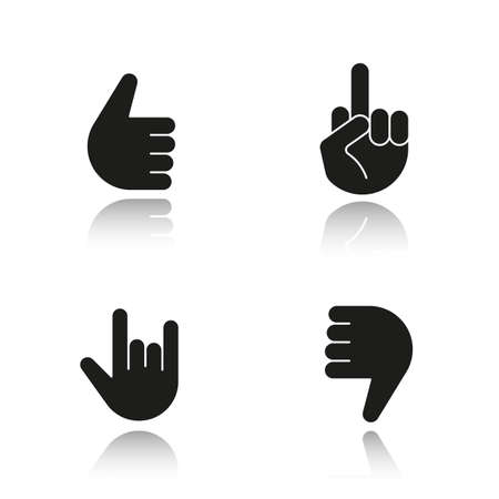 Hand gestures drop shadow black icons set. Thumbs up, dislike, heavy metal, middle finger up. Isolated vector illustrations