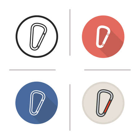clasps: Carabiner icon. Flat design, linear and color styles. Spring hook. Isolated vector illustrations