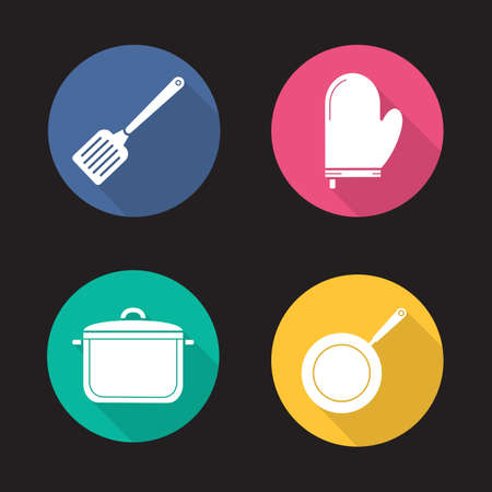 Kitchenware flat design long shadow icons set. Cooking equipment. Spatula, pot holder, saucepan, frying pan. Vector silhouette illustration