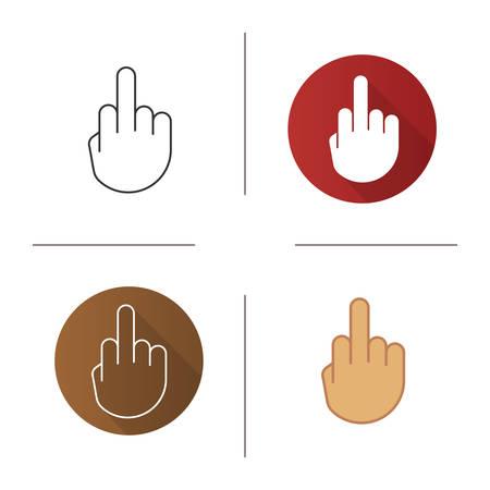 Doigt du milieu icône. Design plat, styles linéaires et couleurs. Renversement du geste de la main. Illustrations vectorielles isolées
