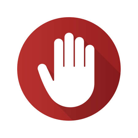 Palm flat linear long shadow icon. Stop, greeting and high five gesture. Vector line symbol