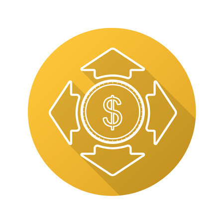 Money spending flat linear long shadow icon. Dollar coin with all direction arrows. Vector line symbol
