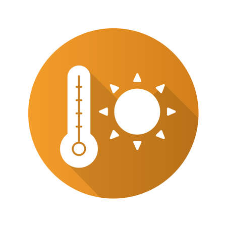 Summer heat flat design long shadow icon. Rising sun with thermometer. Summer weather. Vector silhouette symbol Illustration