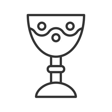Church goblet linear icon. Chalice thin line illustration. Holy water bowl contour symbol. Vector isolated outline drawing