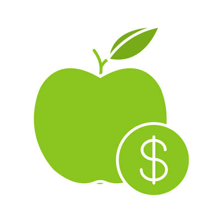 Fruit Price Color Icon Apple With Dollar Sign Isolated Vector