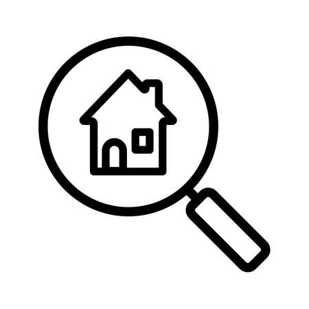 market place: Real estate search linear icon. Thin line illustration. Find house for rent. Magnifying glass with home contour symbol. Vector isolated outline drawing