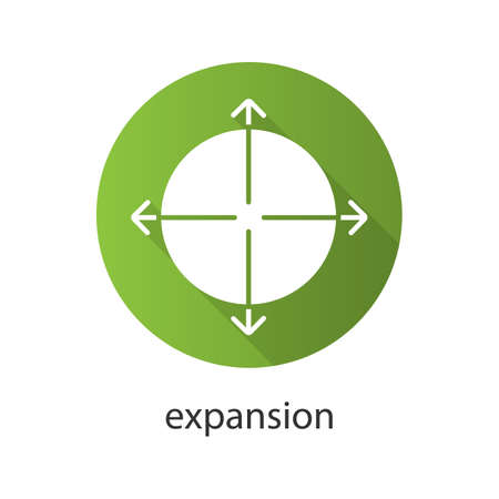 science symbols metaphors: Expansion flat design long shadow icon. Expand abstract metaphor. Vector silhouette symbol