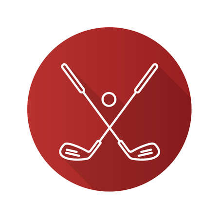 flat iron: Golf ball and clubs. Flat linear long shadow icon. Golf equipment. Vector line symbol