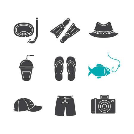 swim cap: Summer holidays glyph icons set. Silhouette symbols. Aqualung, flippers, homburg hat, refreshing drink, flip flops, fishing, cap, swimming trunks, photo camera. Vector isolated illustration Illustration